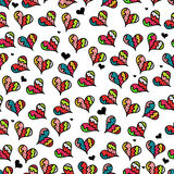 Seamless pattern with colorful hearts. Cute seamless pattern with colorful hearts Stock Photos