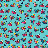 Seamless pattern with colorful hearts. Cute seamless pattern with colorful hearts Stock Photo