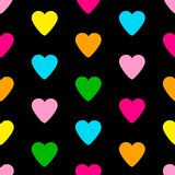 Seamless pattern from the colorful hearts on the black backgroun. D. Vector illustration Stock Images