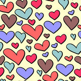 Seamless pattern with colorful hearts. Cute Valentine seamless pattern with colorful hearts Stock Photography