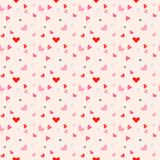 Seamless pattern with colorful hearts and light pink background. Vector illustration.  Stock Photo