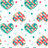 Seamless pattern with colorful hearts. Vector Stock Photos