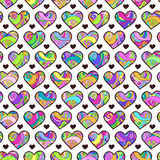 Seamless pattern with colorful hearts. Vector seamless texture for wallpapers, pattern fills, web page backgrounds Stock Photos