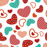 Seamless pattern colorful hearts on white field Stock Photo