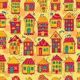 Seamless pattern colorful houses Stock Photos
