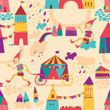 Seamless pattern with colorful houses for children's background. Stock Photos