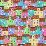 Seamless pattern with colorful houses Royalty Free Stock Images