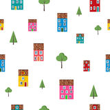 Seamless pattern with colorful houses and trees Stock Image