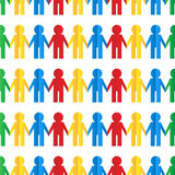 Seamless pattern with colorful human. Figures out of paper Stock Images