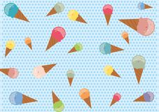 Seamless pattern with colorful ice cream cones. On blue polka dot background Royalty Free Stock Photo