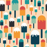 Seamless pattern with colorful ice cream on a stick. Stock Photos