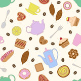 Seamless pattern with colorful image of various desserts and items for tea and coffee. Royalty Free Stock Photo