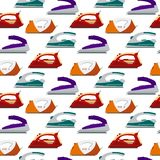 Seamless pattern colorful irons -  illustration. Flat electrical equipment, ironing electric appliance, home device, housewo Stock Images
