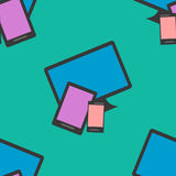 Seamless Pattern of colorful Isoleted Devices. Flat Design. Royalty Free Stock Image