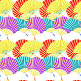 Seamless pattern colorful Japanese fan. vector illustration Royalty Free Stock Photo