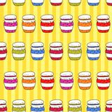 Seamless pattern colorful jars with jam in doodle Royalty Free Stock Photo