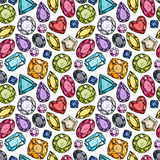 Seamless pattern of colorful jewels. Royalty Free Stock Image