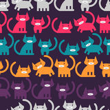 Seamless pattern with colorful kittens Royalty Free Stock Images