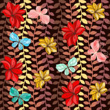 Seamless pattern with colorful leaves, butterflies Royalty Free Stock Images