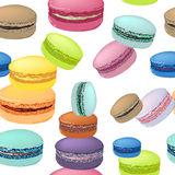Seamless pattern with colorful macaroon cookies. Stock Photo