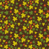 Seamless pattern with colorful maple leaves. Autumn background. Raster clip art Royalty Free Stock Photography