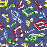 Seamless pattern with colorful music notes Stock Photos