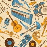 Seamless pattern of colorful musical instruments Stock Images