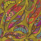Seamless pattern of colorful ornamental bird feathers Stock Images