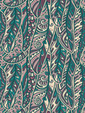 Seamless pattern of colorful ornamental bird feathers Stock Photo