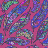 Seamless pattern of colorful ornamental bird feathers Stock Photography