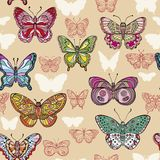 Seamless pattern with colorful and ornate flying butterflies. Vector illustration vector illustration