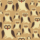 Seamless pattern with colorful owls. Stock Photos