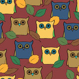 Seamless pattern with colorful owls Stock Image