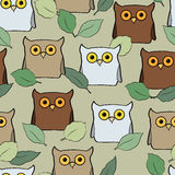 Seamless pattern with colorful owls Royalty Free Stock Photo