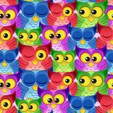 Seamless pattern with colorful owls. Vector illustration Royalty Free Stock Photos