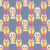 Seamless pattern with colorful owls - vector illustration. Seamless pattern with colorful owls  vector illustration Stock Photo