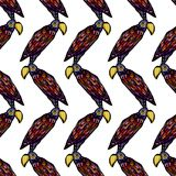 Seamless pattern with colorful parrot on a white background.  Vector Illustration