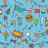 Seamless pattern of colorful party objects on blue background Royalty Free Stock Photo