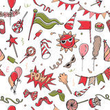 Seamless pattern of colorful party objects on white background Royalty Free Stock Photos