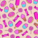 Seamless pattern with colorful patches. Stickers of sweet food: ice cream, candy, donut, cupcake etc on beige background. Fashion cool patches and stickers Royalty Free Stock Photos