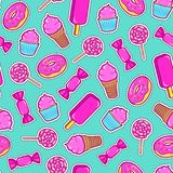 Seamless pattern with colorful patches. Stickers of sweet food: ice cream, candy, donut, cupcake etc on mint green background. Fashion cool patches and Stock Photo
