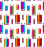 Seamless Pattern with Colorful Pencils Royalty Free Stock Photography