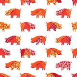 Seamless pattern with colorful pigs. Patchwork style. stock illustration