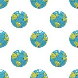 Earth and Globalization Seamless Pattern. A seamless pattern with a colorful planet Earth or globe flat icon with connections, isolated on white background royalty free illustration