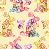 Seamless pattern with colorful rabbits in ethnic style Stock Photography