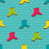 Seamless pattern with colorful rain boots Royalty Free Stock Photo