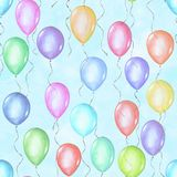 Seamless pattern of colorful rainbow colors watercolor happy holiday flying balloons