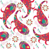 Seamless pattern with colorful red doodles Paisley and seamless pattern in swatch menu,  image. Cute texture for design Stock Image