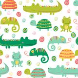 Seamless pattern with colorful reptile and amphibian. Vector illustration, eps stock illustration