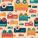Seamless pattern with colorful retro video projectors. Stock Photos